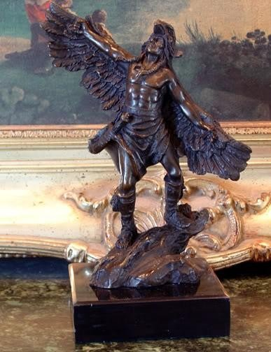 Fascinating Bronze Sculpture Native American Winged Wa