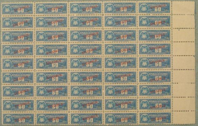 45 Colombia Specimen Revenue Stamps Plate Block 60 Cent