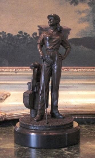 Dapper Bronze Sculpture Lady Golfer