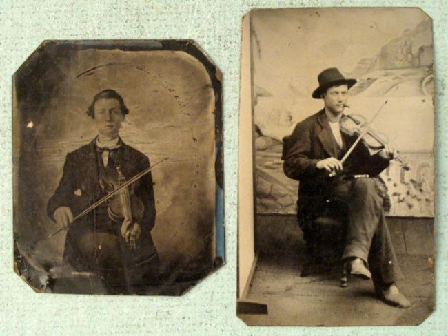 2 Antique Tin Type Photos Musicians w/ Violins