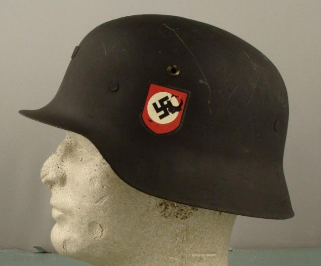 CAPTURED RE-ISSUED SS DOUBLE DECAL NAZI HELMET