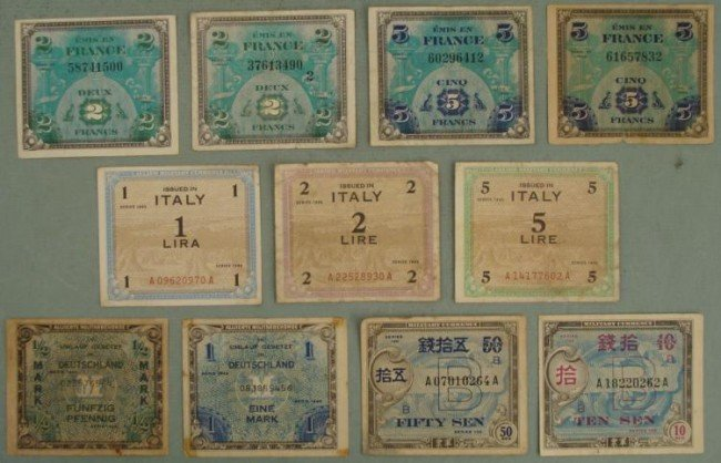 11 WWII MILITARY CURRENCY GERMANY, ITALY, JAPAN,FRANCE