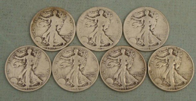 7 Different Dates Walking Liberty Halves 1917-1944