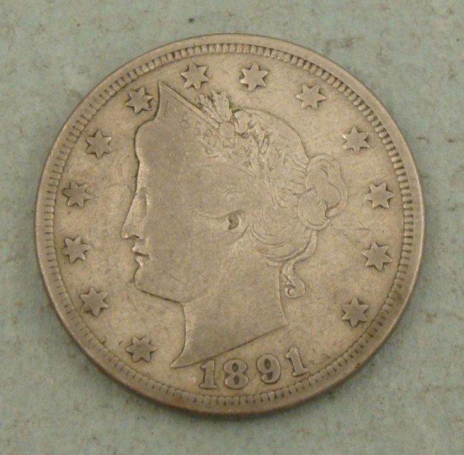 1891 Liberty V Nickel -Nice Coin
