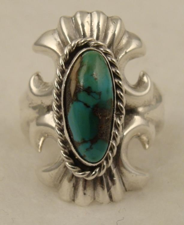 Sterling Silver & Turquoise Ring Vintage 1970s