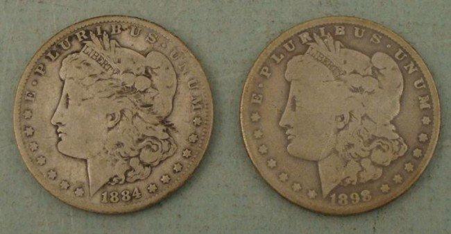 2 Morgan P Silver Dollars 1884, 1898