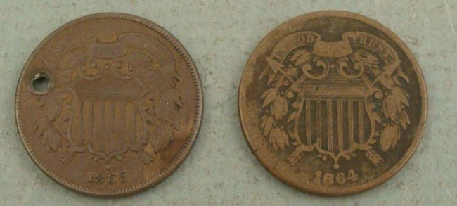 1864, 1865 US 2 Two Cent Pieces Very Nice Grade 1 Holed