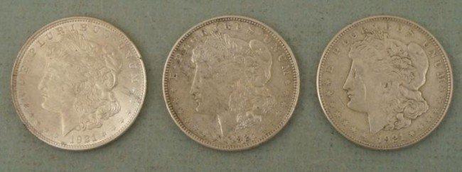 3 Diff 1921 Morgan Silver Dollars P, D, S Mints