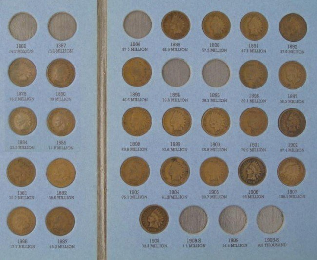 26 Diff Indian Head Pennies Cents in Folder 1879-1908