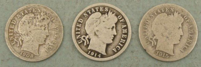 3 Diff Date Barber Silver Dimes 1908 D, 14 D, 15 S