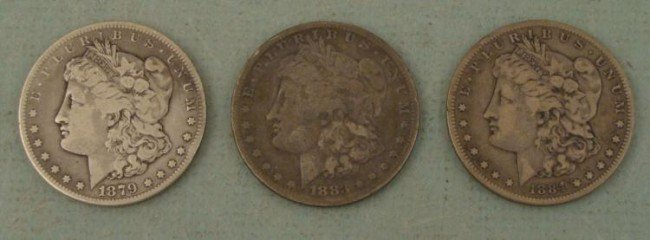 3 Diff S Morgan Silver Dollars 1879, 1883, 1884
