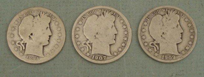 3 Diff Barber Half Dollar S Coins 1894, 1907, 1909