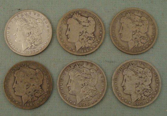 6 Diff Date Morgan O Dollars 1886, 89, 90, 97, 1900, 02
