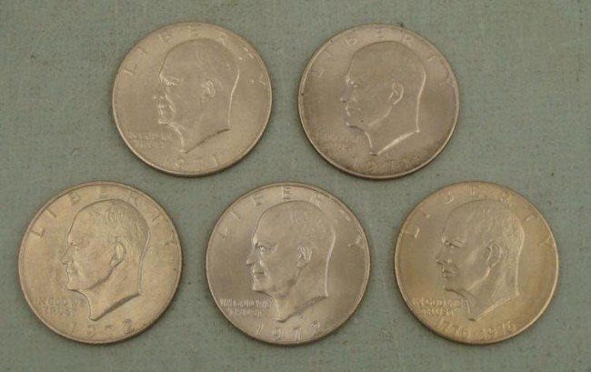 5 Different Date UNC Eisenhower Dollars 1971, 72, 76