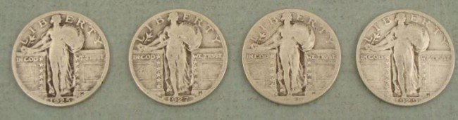 4 Diff Date Standing Liberty Quarters 1925, 27, 28S, 29