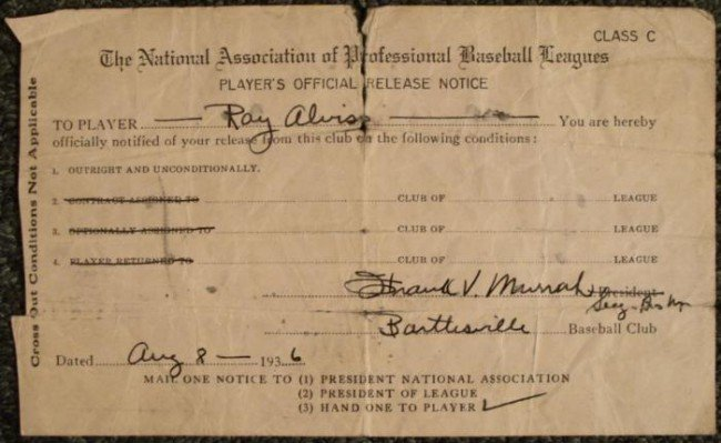 1936 Ray Alviss Players Official Release Notice MLB