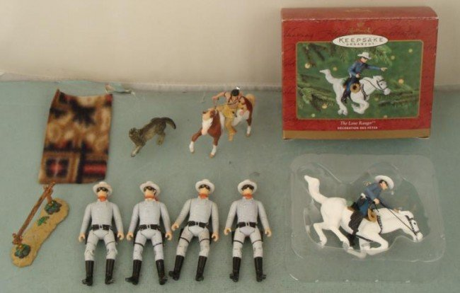 Lone Ranger Action Figure Toy Lot, + Ornament, Tonto