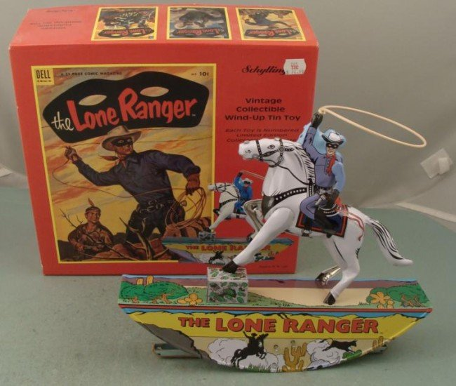 The Lone Ranger & Silver Tin Wind-Up Toy Schylling MIB
