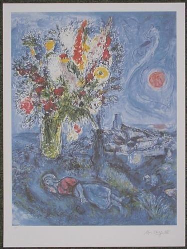 After Chagall LA DORMEUSE AUX FLEURS Lyrical Art Print
