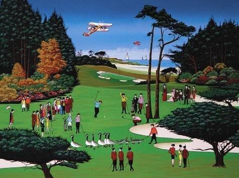 WAIT A MINUTE Golf Nicky Watanabe LE Naive Art Print