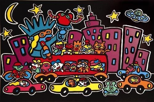 NEW YORK AT NIGHT Hot Pop Art MARCO Print on Canvas