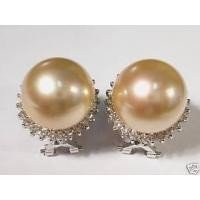 13mm South-Sea 14kt golden pearl and diamond earrings