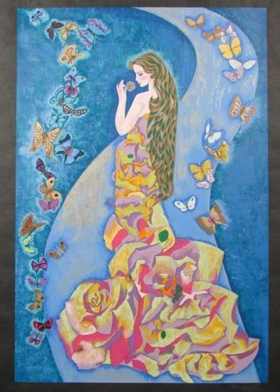 Zhou Ling SPIRIT OF THE BUTTERFLIES Rice Art Print