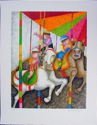 TOURNE MANEGE Signed LE Art Print Boulanger Carousel