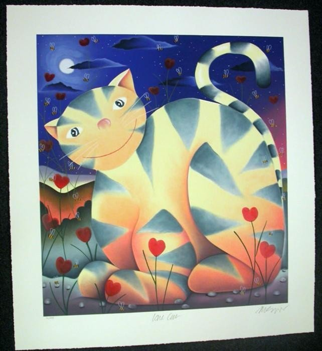 Mackenzie Thorpe Love Cat Serigraph