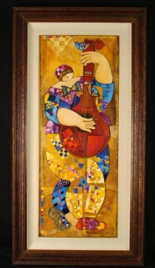 Dorit Levi Original Framed Music Art Oil Painting Banjo