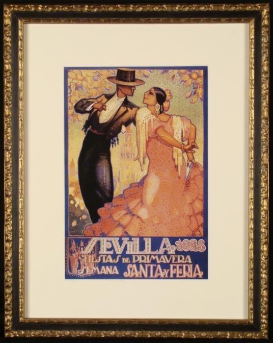 Sevilla 1928 Fiestas Primavera Spanish Art Poster Frm.
