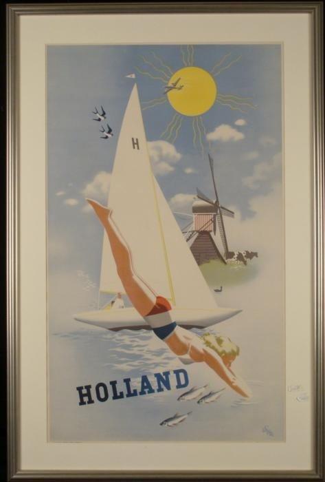 Holland Original Old Travel Poster 1960 Nice Framed