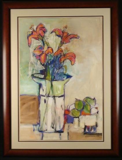 Cecilia Garcia Amaro Large Sgn Original Painting Flower