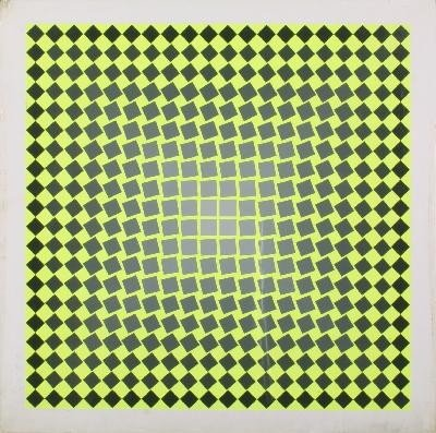 Signed Vasarely X on yellow squares Serigraph