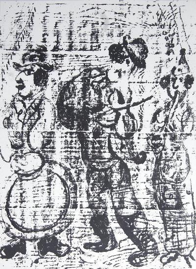 1957 Chagall Wandering Musicians Mourlot Litho