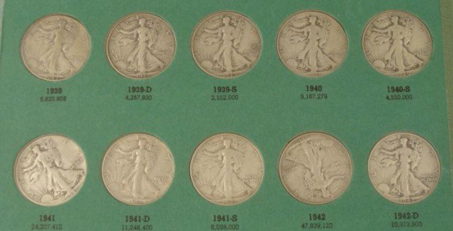 Short Set 23 Diff Date Walking Liberty Halves 1939-47