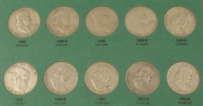 30 Diff Date Franklin Halves Partial Set 1948-63