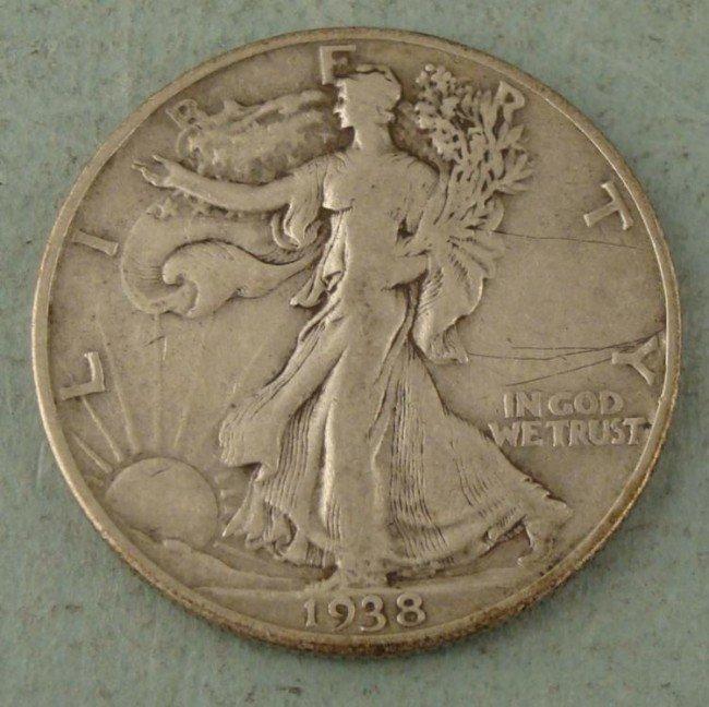 1938-D Walking Liberty Half Dollar VF Nice Key Date