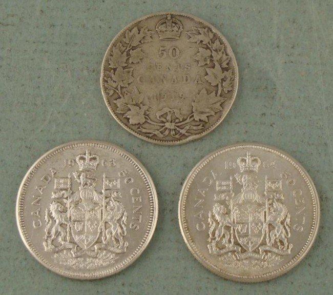 3 Silver Canada Half Dollars 1919, 1963, 1964
