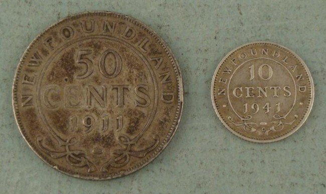 2 Newfoundland Silver Coins 1911 Half Dollar 1941 10 Ct