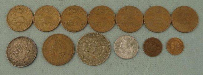 Lot 13 Coins Mexico Centavos, Pesos 1921-1973, 2 Silver