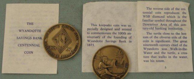 2 Large Wyandotte Bank Commem 1871-1971 Medals