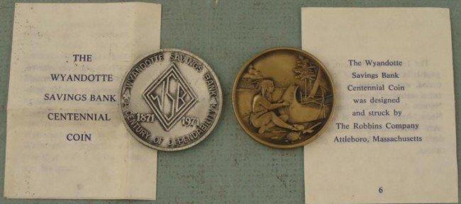 2 Diff Wyandotte Bank Commem 1871-1971 Medals