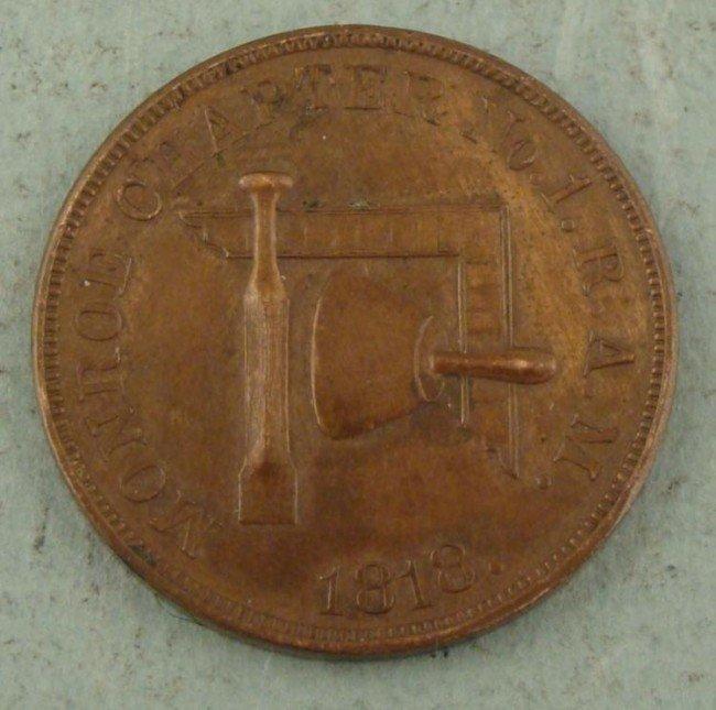 1818 Masonic One Penny Token Monroe Ch. Detroit Mich.