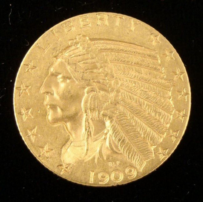 1909-D Indian Head $5 Gold Half Eagle -Semi Key Coin