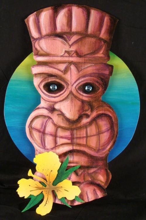 Duerrstein Original Tiki Tropical 3-D Wall Art Painting