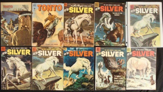 9 Lone Ranger Dell Comic Books Lot Vintage Silver Tonto