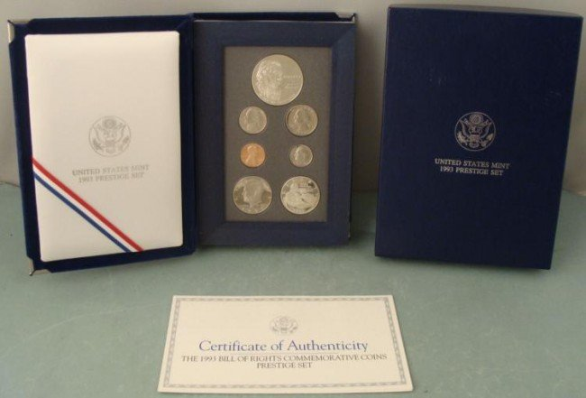 1993 Prestige Proof Set In Box, Case w/ COA