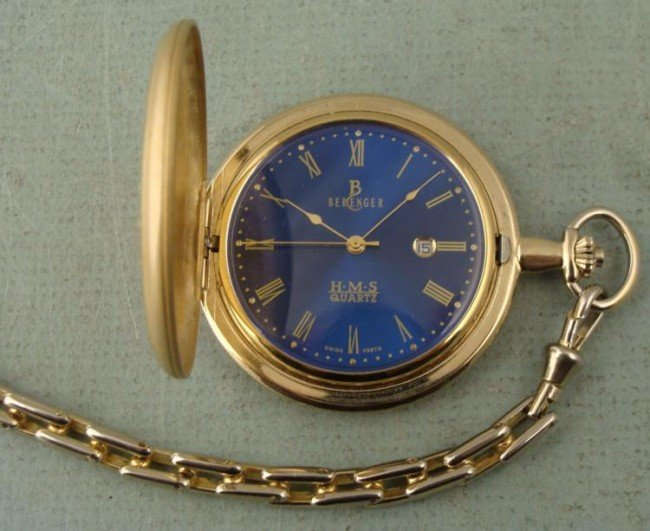 Berenger HMS Gold Tone Hunter Case Pocket Watch w/Chain