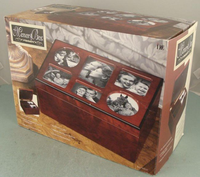 Memory Box Photo Album Storage Container Wood MIB